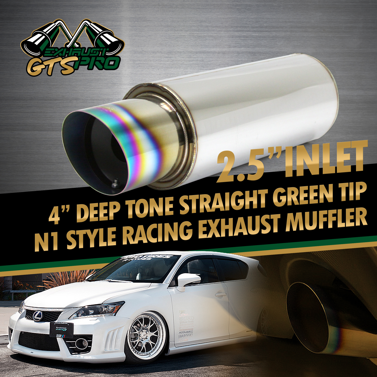 For Euro Car 1x Usa N1 Style Deep Note Sport Exhaust Muffler Angle