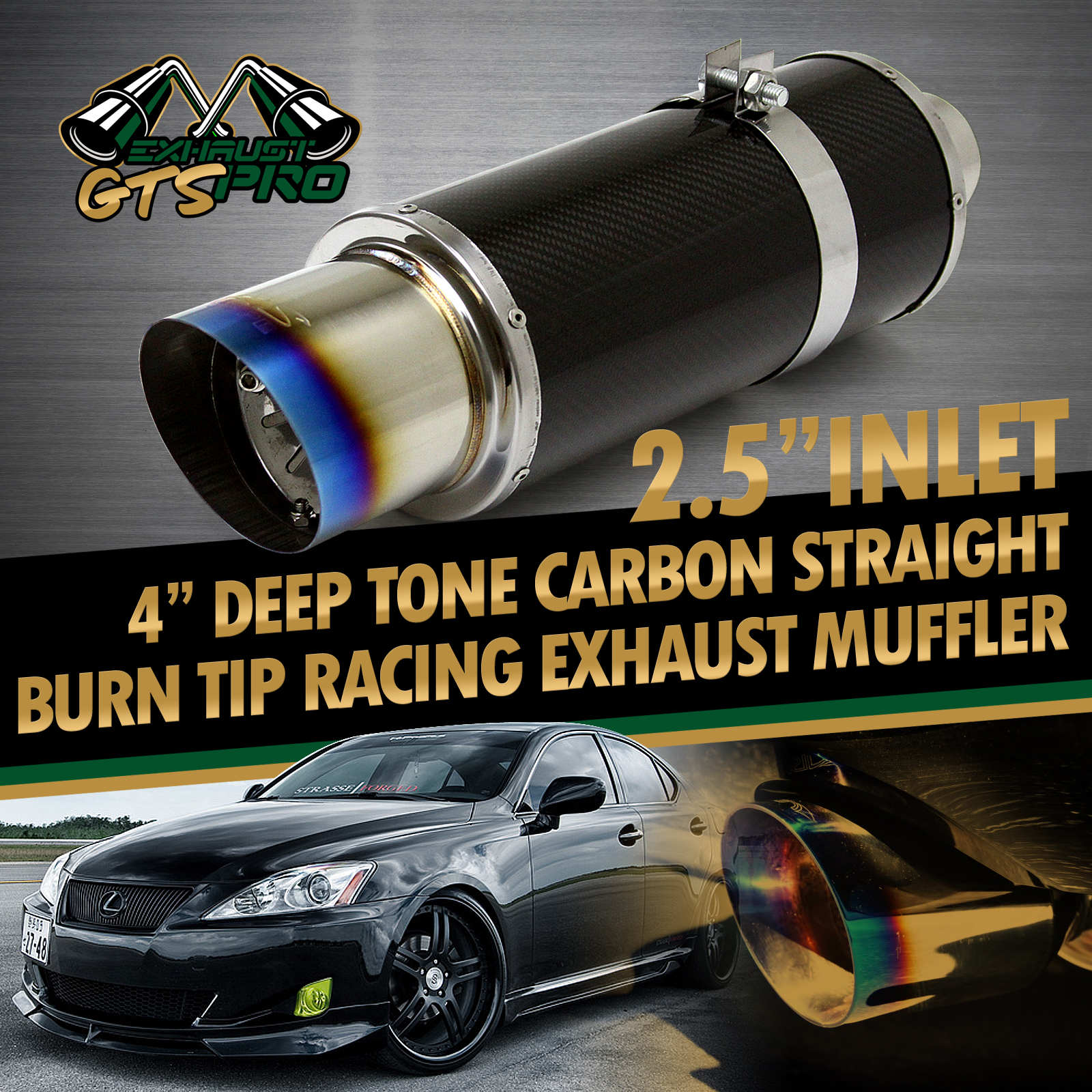 Fit Euro Car 1x N1 Style Throaty Sport Race Carbon Fiber Exhaust